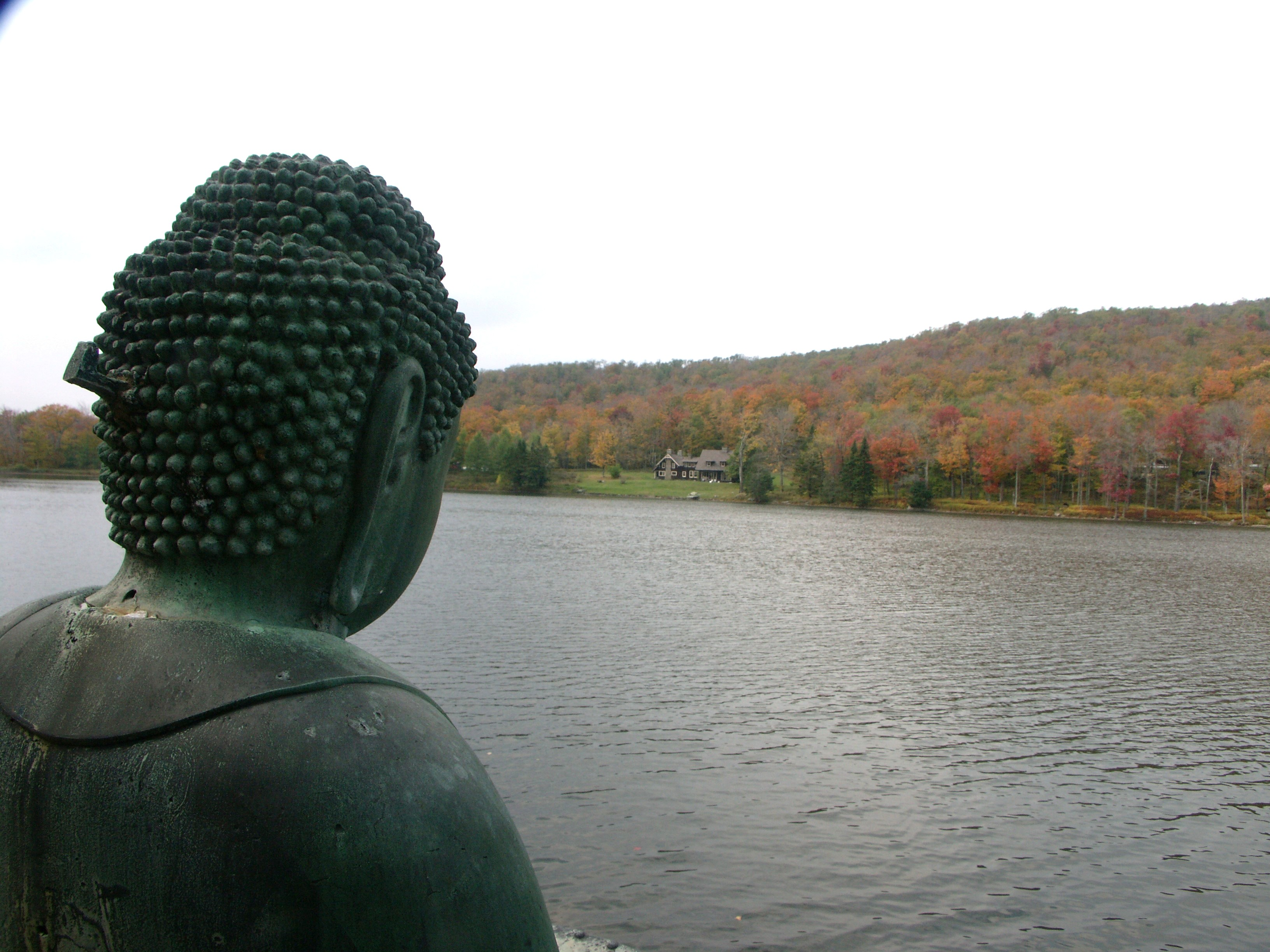 Buddha watching across the lake